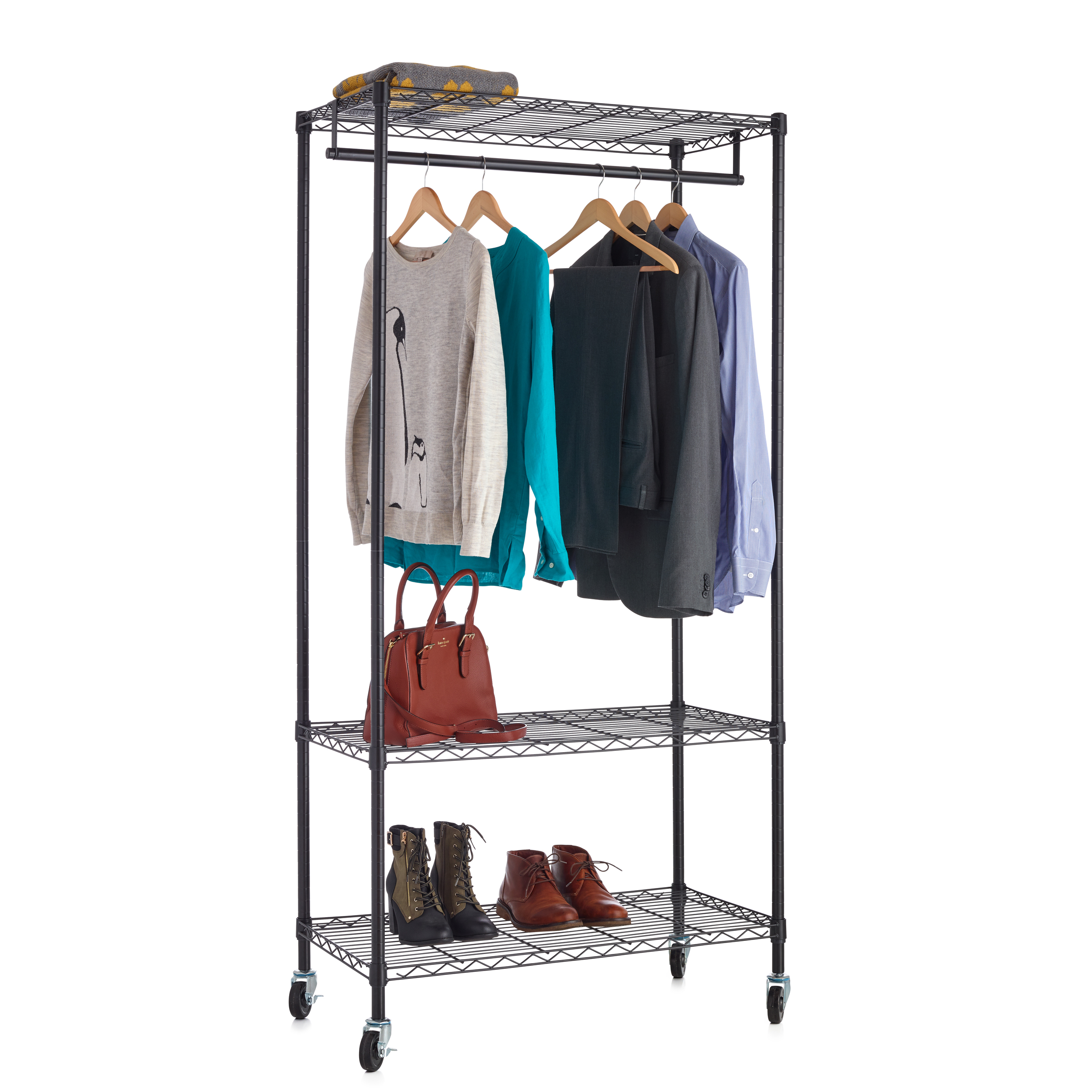 18x36 3 Tier Wire Clothes Rack Black Wire Shelf Additions