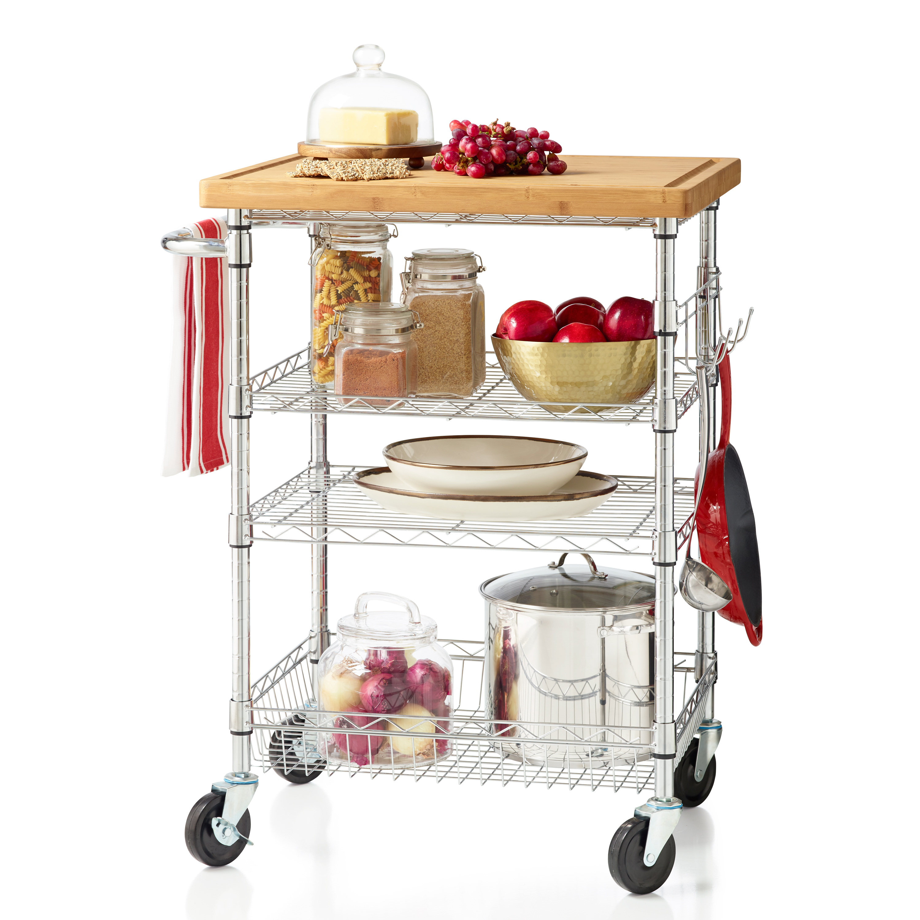 4 Tier Rolling Cart With Bamboo Cutting Board Chrome