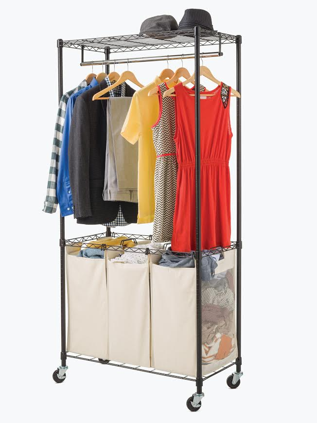 Deluxe Rolling Laundry Sorter Rolling Laundry Cart Wire Shelf Additions